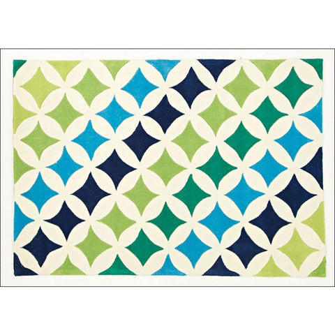 Modern Diamonds Rug Blue Green - Rugs Of Beauty