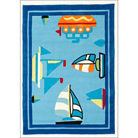 Boats and Ships Rug Blue - Rugs Of Beauty