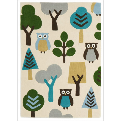 Owl In The Forest Rug Cream - Rugs Of Beauty