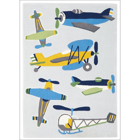Little Aviator Plane Rug Blue - Rugs Of Beauty