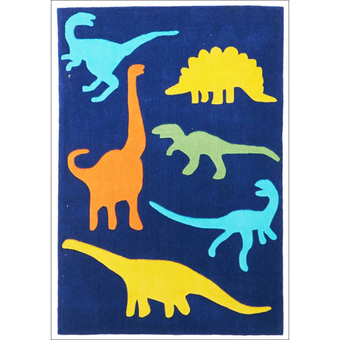 Blue Dinosaurs Colourful Childern's Rug - Rugs Of Beauty - 1