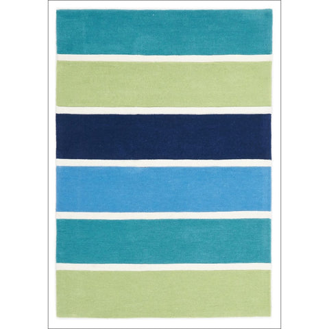 Blue and Green Banded Stripes Rug - Rugs Of Beauty
