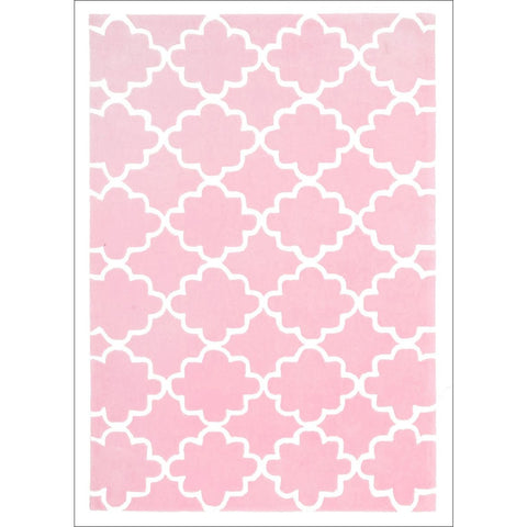 Kids Trellis Design Rug Pink - Rugs Of Beauty - 1