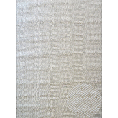 Handwoven Woollen Durrie Rug - Diamond - Beige - Rugs Of Beauty