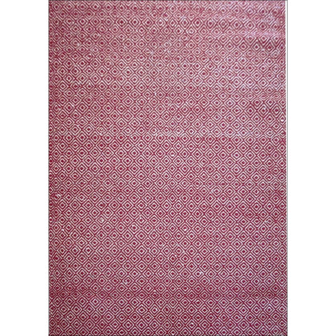 Handwoven Woollen Durrie Rug - Diamond - Red/Natural - Rugs Of Beauty