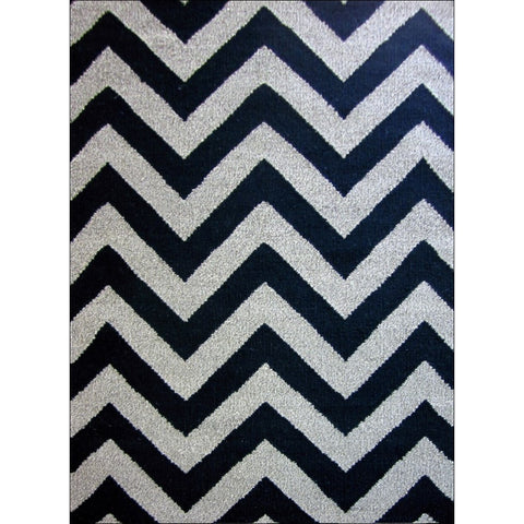 Handwoven Woollen Durrie Rug - Moderno - Black/Natural - Rugs Of Beauty
