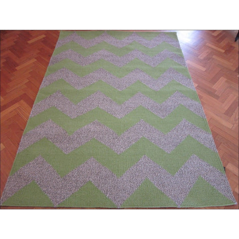 Handwoven Woollen Durrie Rug - Moderno - Green/Natural - Rugs Of Beauty