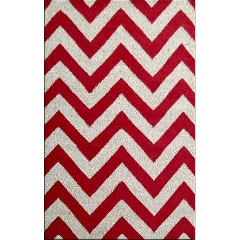 Handwoven Woollen Durrie Rug - Moderno - Red/Natural - Rugs Of Beauty