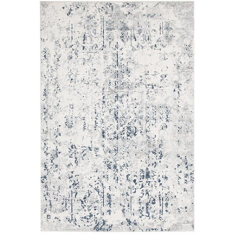 Elizabeth 332 White Blue Grey Abstract Patterned Modern Rug - Rugs Of Beauty - 1