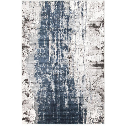 Elizabeth 333 Blue Beige Grey Abstract Patterned Modern Rug - Rugs Of Beauty - 1