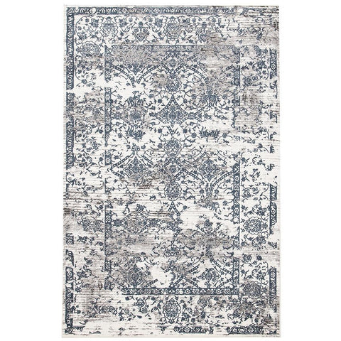 Elizabeth 334 White Blue Grey Abstract Floral Border Patterned Modern Rug - Rugs Of Beauty - 1