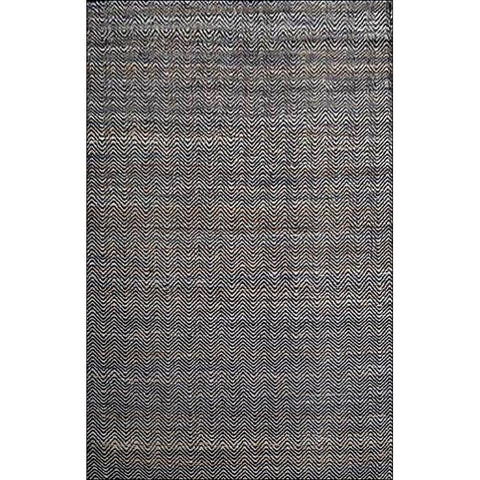 Handmade Natural Fibre Jute Rug-1011-Chevron Patterned Natural / Black - Rugs Of Beauty
