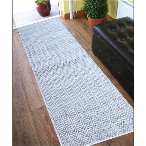 Handmade Natural Jute Cotton Chevron Runner Rug-1011-Natural - Rugs Of Beauty