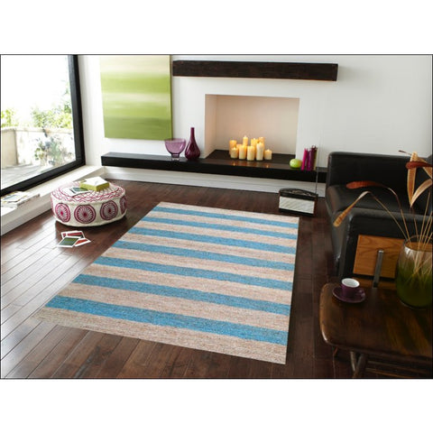 Eco-friendly Striped Natural / Blue Jute Rug - Kerla 1020 - Rugs Of Beauty