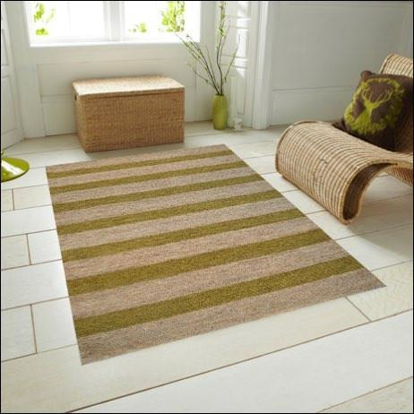 Eco-friendly Striped Natural / Green Patterned Jute Rug - Kerla 1020 - Rugs Of Beauty