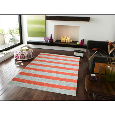 Eco-friendly Striped Natural / Orange Patterned Jute Rug - Kerla 1020 - Rugs Of Beauty