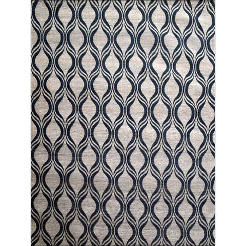 Flatweave Patterned Jute Durrie Rug - Kerla 1031 - Charcoal - Rugs Of Beauty