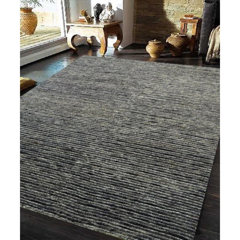Himalaya Jute Wool Cotton Black & Charcoal Stripe Hand Knotted Designer Rug - Rugs Of Beauty - 1