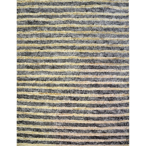 Cream & Natural Stripe Hand Knotted Designer Jute Wool Cotton Rug - Rugs Of Beauty - 1