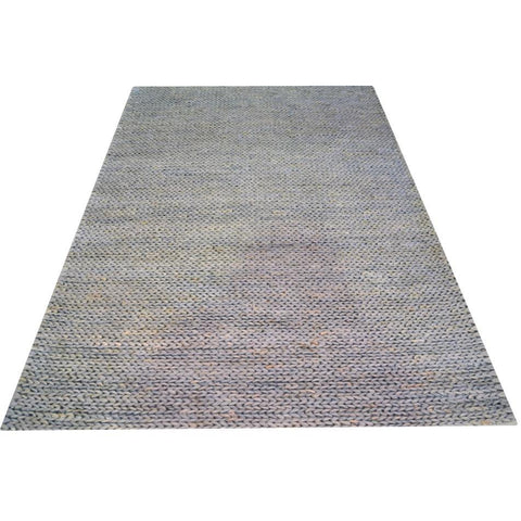 Silver & Grey Pattern Jute & Cotton Hand Knotted Designer Rug - Rugs Of Beauty - 1