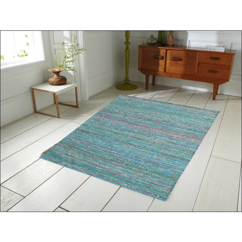 Handwoven Sari Silk Rug - Khadi 1088 - Green - Rugs Of Beauty