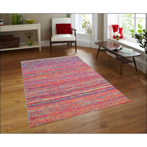 Handwoven Sari Silk Rug - Khadi 1088 - Multi Red - Rugs Of Beauty