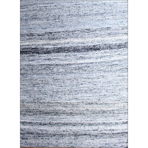 Handwoven Sari Silk Rug - Khadi 1088 - White/Black - Rugs Of Beauty