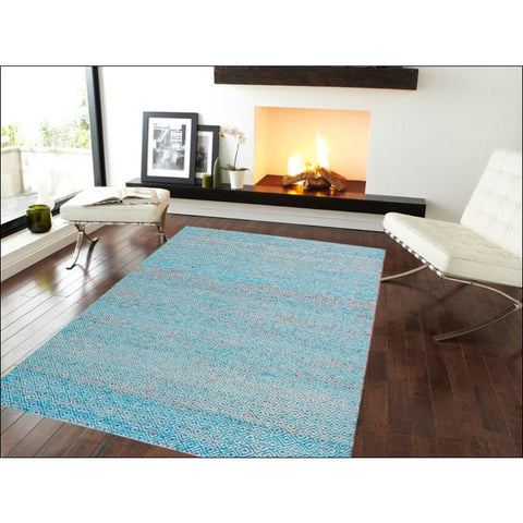 Handwoven Sari Silk Rug - Khadi 1089 - Blue - Rugs Of Beauty