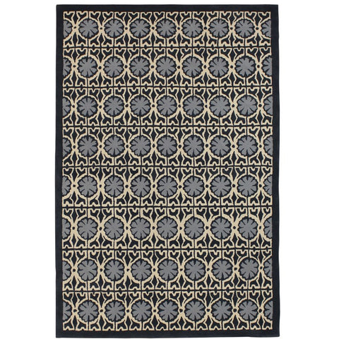 Panama Grey and Beige Patterned Star Designer Wool Rug - Rugs Of Beauty