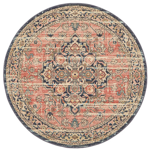 Tivoli 2774 Terracotta Multi Colour Transitional Round Rug - Rugs Of Beauty - 1