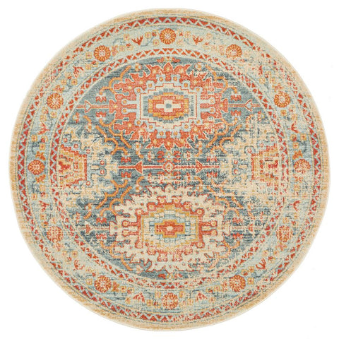 Tivoli 2776 Blue Terracotta Multi Colour Transitional Round Rug - Rugs Of Beauty - 1