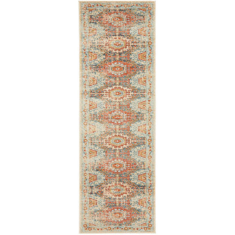Tivoli 2776 Blue Terracotta Multi Colour Transitional Runner Rug - Rugs Of Beauty - 1
