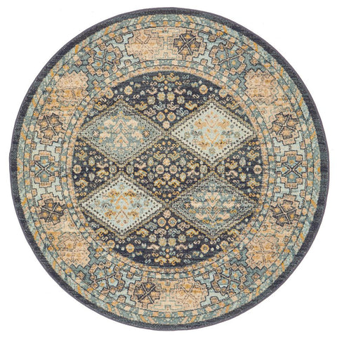 Tivoli 2780 Navy Blue Multi Colour Transitional Round Rug - Rugs Of Beauty - 1