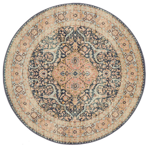 Tivoli 2781 Midnight Blue Sand Multi Colour Transitional Round Rug - Rugs Of Beauty - 1