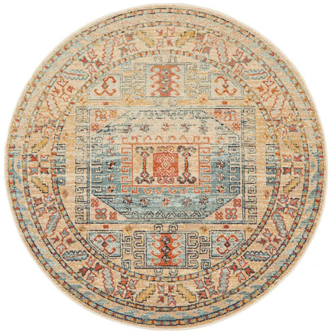 Tivoli 2782 Sky Blue Sand Multi Colour Transitional Round Rug - Rugs Of Beauty - 1
