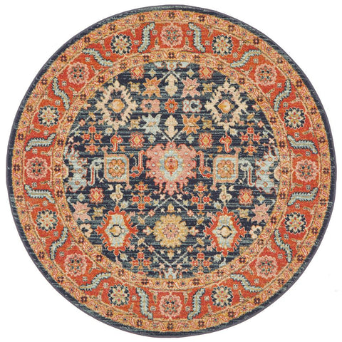 Tivoli 2783 Navy Blue Multi Colour Transitional Round Rug - Rugs Of Beauty - 1