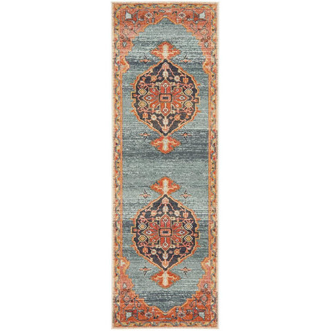 Tivoli 2785 Blue Rust Multi Colour Transitional Runner Rug - Rugs Of Beauty - 1