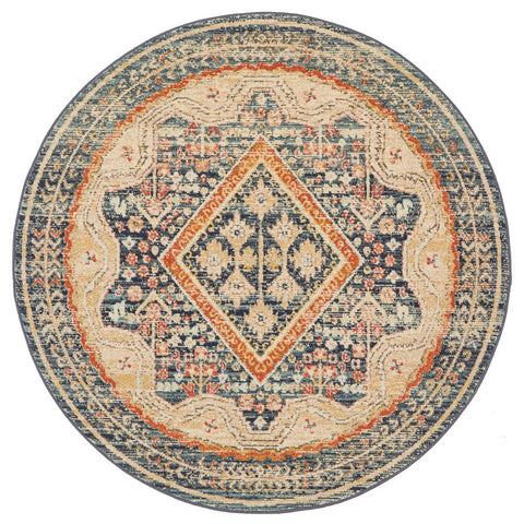 Tivoli 2786 Navy Blue Multi Colour Transitional Round Rug - Rugs Of Beauty - 1