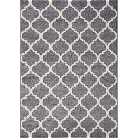 Lorenza Lattice Grey Trellis Pattern Modern Rug - Rugs Of Beauty - 1