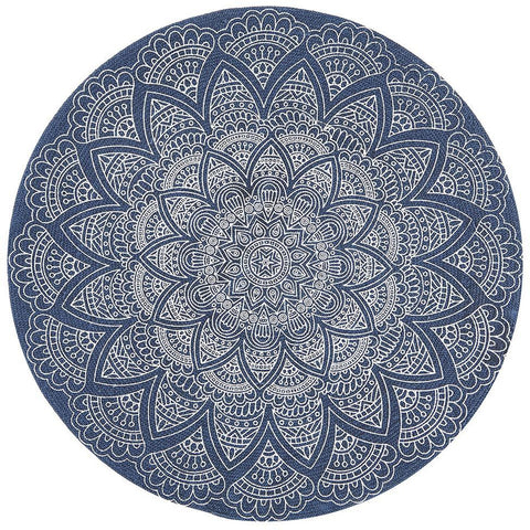 Flekke 240 Printed Blue Hand Woven Flatweave Modern Cotton Round Rug - Rugs Of Beauty - 1