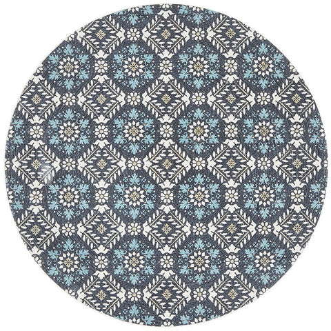 Flekke 242 Printed Blue Hand Woven Flatweave Modern Cotton Round Rug - Rug Of Beauty - 1