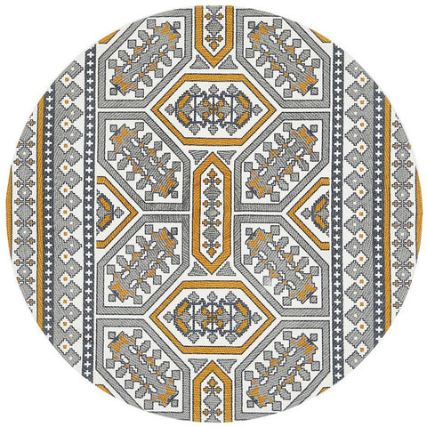 Flekke 243 Printed Gold Grey White Hand Woven Flatweave Modern Cotton Round Rug - Rugs Of Beauty - 1