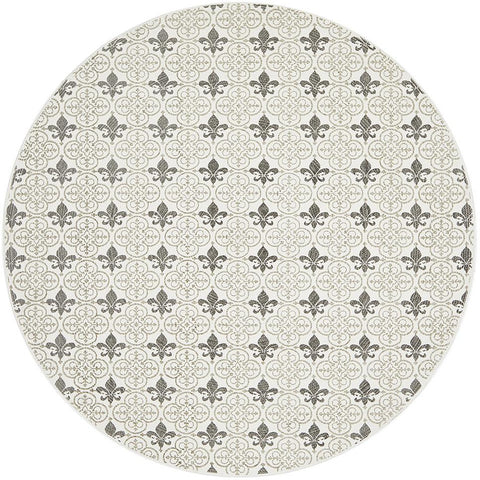Flekke 244 Printed Silver Grey Cream Hand Woven Flatweave Modern Cotton Round Rug - Rugs Of Beauty - 1