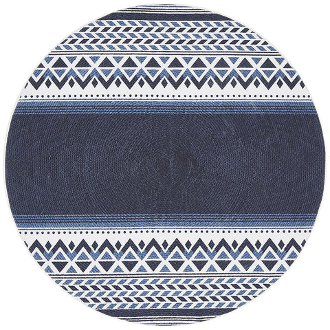Flekke 245 Printed Blue White Hand Woven Flatweave Modern Cotton Round Rug - Rugs Of Beauty - 1