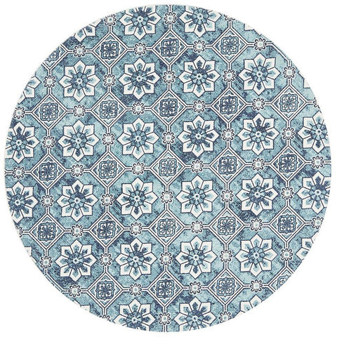 Flekke 246 Printed Turquoise Navy Blue White Hand Woven Flatweave Modern Cotton Round Rug - Rugs Of Beauty - 1