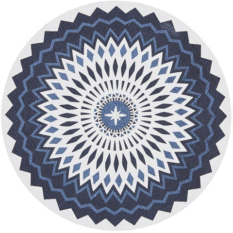 Flekke 247 Printed Blue White Hand Woven Flatweave Modern Cotton Round Rug - Rugs Of Beauty - 1