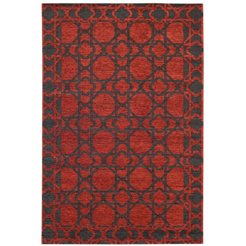 Santa Clara Red and Black Lattice Trellis Patterned Rug - Rugs Of Beauty