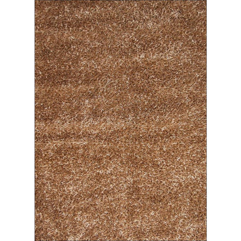 Manali Hand Knotted Polyester Plush Shaggy Plain Gold Rug - Rugs Of Beauty