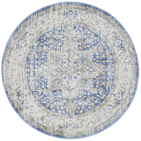 Bergen 1432 Ocean Blue Transitional Medallion Patterned Round Rug - Rugs Of Beauty - 1