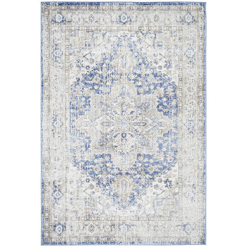 Bergen 1432 Ocean Blue Transitional Medallion Patterned Rug - Rugs Of Beauty - 1